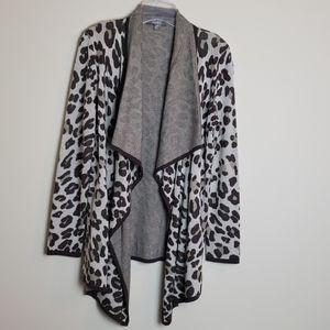 Neiman Marcus cheetah print asymmetrical cardigan